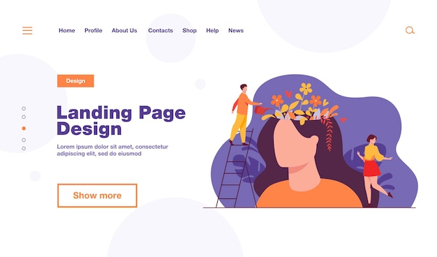 Tiny people and beautiful flower garden inside female head landing page template