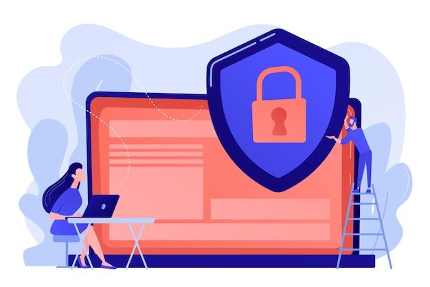 ラップトップ上のデータを保護するシールドを持つ小さな人々のビジネスマン。データプライバシー、情報プライバシー規制、個人データ保護の概念