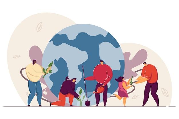 Крошечные люди, заботящиеся об экологии земли, плоская иллюстрация