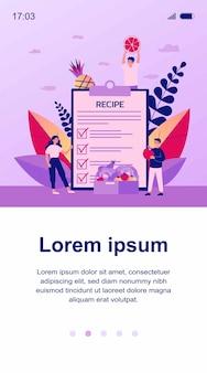 새로운 레시피를 위해 제품을 선택하는 작은 사람들. 야채, 과일, 샐러드 그림. 배너, 웹 사이트 또는 방문 웹 페이지에 대한 건강 식품 및 요리 개념