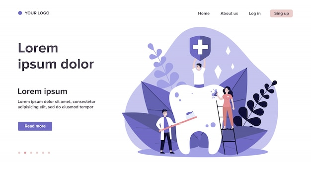 Tiny people cleaning big tooth   illustration