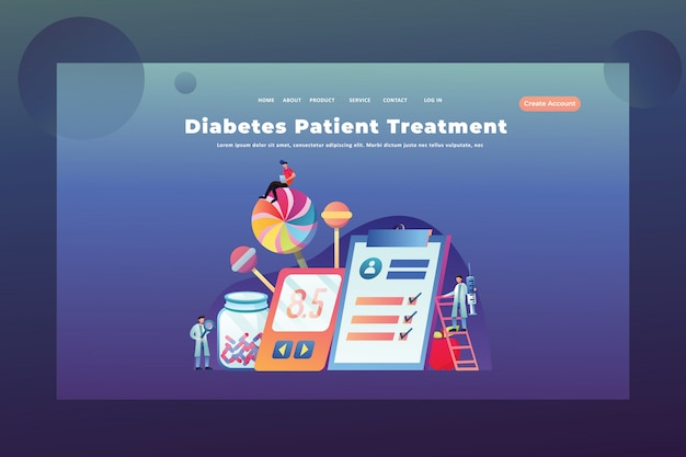 Tiny people concept diabetes treatment of medical and science web page header landing page