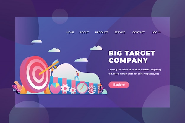 Tiny people concept go to their goals of big target company web page header landing page