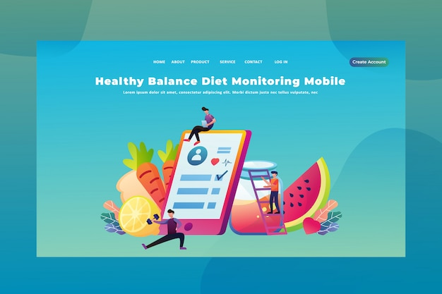 Tiny people concept healthy balance diet monitoring mobile  of medical and science web page header landing page