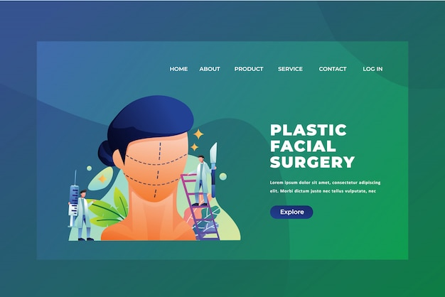 Tiny people concept plastic facial surgery of medical and science web page header landing page