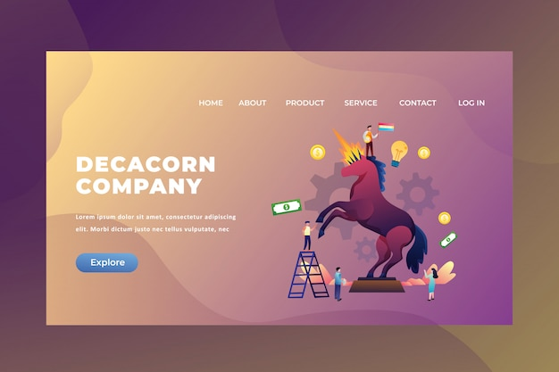 Tiny people concept with a company value above 10 billion dollars is called the decacorn company of web page header landing page