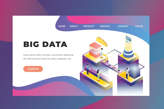 Tiny people concept working on big data technology landing page