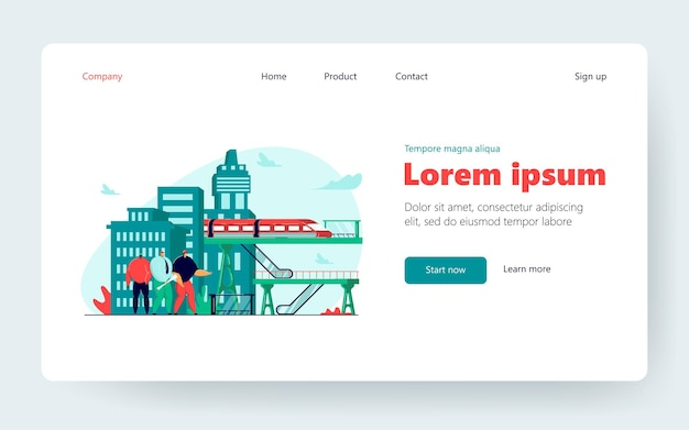 Tiny people conducting construction job. railway, infrastructure, bridges flat vector illustration. civil engineering, construction industry concept for banner, website design or landing web page