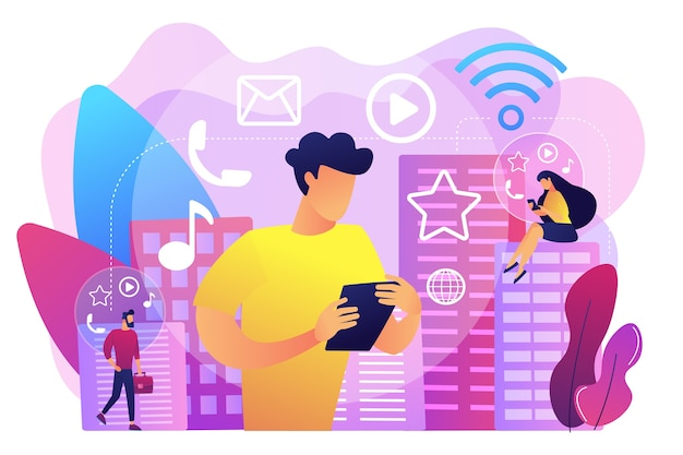 スマートシティで複数のインテリジェントデバイスに接続している小さな人々。コネクテッドリビング、グローバルオンラインサービス、インテリジェントデバイスネットワークコンセプト。