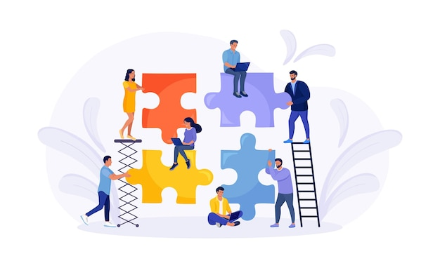 Tiny people connecting puzzle pieces trying to find a solution together. effective workflow. teamwork, cooperation, partnership and collaboration. business concept