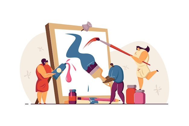 Tiny people creating picture in artwork studio flat illustration