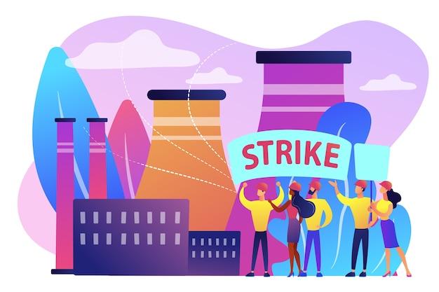 노동자들로 이루어진 작은 사람들이 공장에서 권리를 위해 투쟁하고 있습니다. 파업 행동, 노동 운동 파업, 직원 작업 중단 개념.