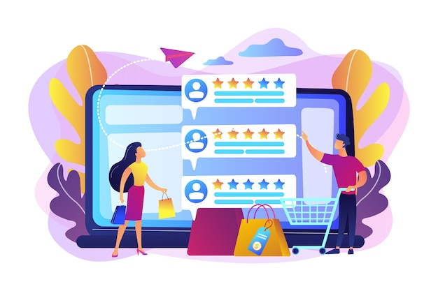 Tiny people customers rating online with reputation system program. seller reputation system, top rated product, customer feedback rate concept.