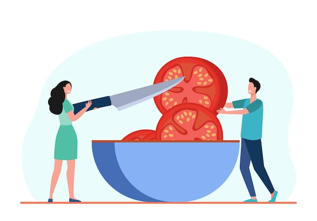Tiny people cutting huge tomato in bowl. knife, meal, food flat  illustration. cartoon illustration