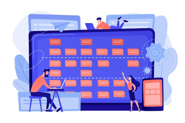 Маленькие люди-разработчики на ноутбуках и требованиях клиентов. описание требований к программному обеспечению, гибкий инструмент для пользовательского случая, концепция бизнес-анализа