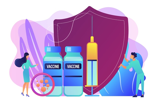 백신, 방패와 함께 작은 사람들의 의사와 주사기. 예방 접종 프로그램, 질병 예방 접종 백신, 의료 건강 보호 개념. 밝고 활기찬 보라색 고립 된 그림
