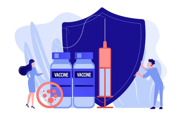 Tiny people doctors and syringe with vaccine, shield. vaccination program, disease immunization vaccine, medical health protection concept. pinkish coral bluevector vector isolated illustration