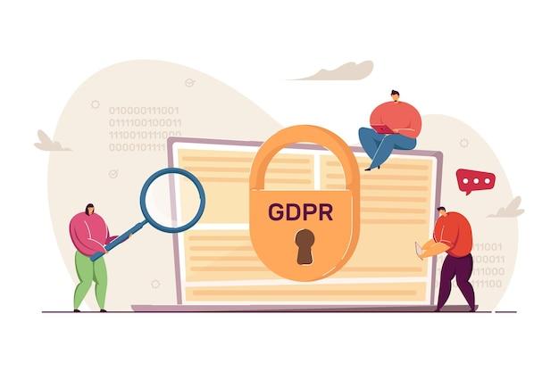 ラップトップを調べる小さな人々。一般データ保護規則のフラットベクトル図。 gdpr、プライバシー、バナー、ウェブサイトのデザイン、またはランディングウェブページの個人情報の保護の概念