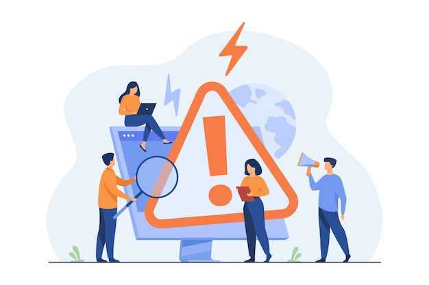 Tiny people examining operating system error warning on web page isolated flat illustration.