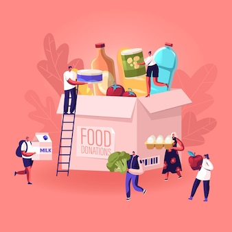 Tiny people filling cardboard donation box with different food and products for help to poor people. cartoon flat illustration