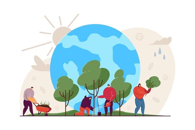 一緒に木を育てる小さな人々フラットイラスト