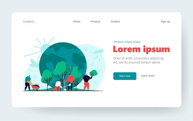 Tiny people growing trees together. reforestation, protection of planet flat vector illustration. reforestation, environmental agriculture concept for banner, website design or landing web page