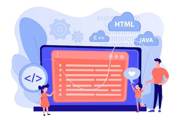 작은 사람들, 거대한 노트북에서 프로그래밍을 배우는 행복한 아이들