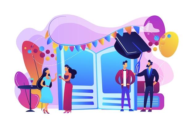 プロムナードダンスでおしゃべりするドレスやスーツを着た小さな高校生。ウエディングパーティー、ウエディングナイトの招待状、プロムナードスクールダンスのコンセプト。