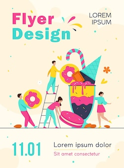 Tiny people holding and carrying bars of chocolate, biscuit, donut, ice cream and milk shake flyer template