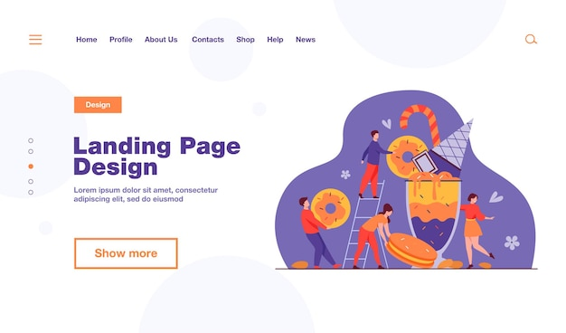 Tiny people holding and carrying bars of chocolates and candy landing page template
