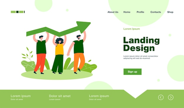 Tiny people holding growing arrow landing page in flat style
