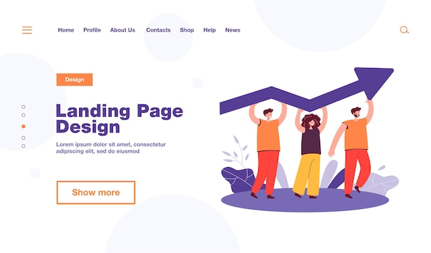 Tiny people holding growing arrow landing page template Free Vector
