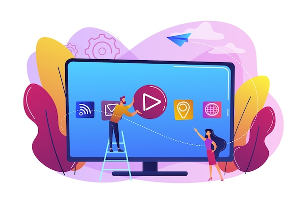 Tiny people at huge smart television with application icons on display. smart tv technology, internet television, online tv sreaming concept. bright vibrant violet  isolated illustration