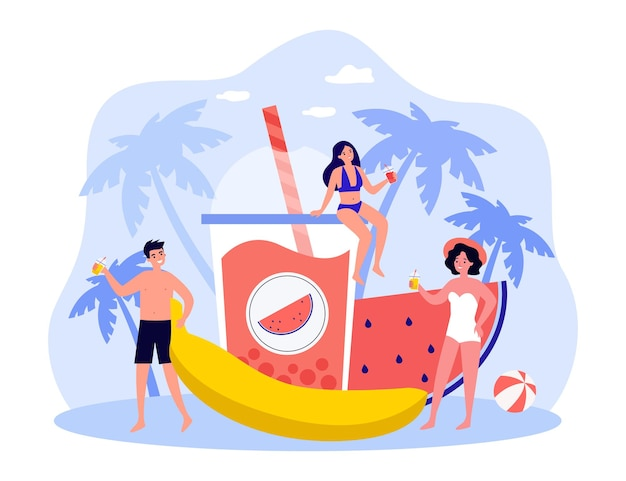 水着姿の小さな人たちは夏休みを楽しんでいます。熱帯のエキゾチックな場所のリゾートでリラックスした水着を飲みながら友達を笑顔。漫画ベクトルフラットイラスト。休日のコンセプト。