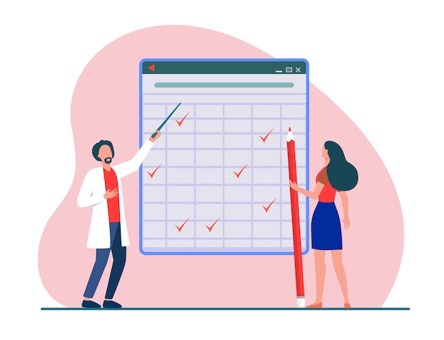 Tiny people looking at checkmarks in huge table. pencil, woman, mark flat vector illustration. report and digital technology