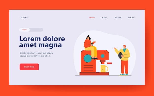 Tiny people making coffee landing page in flat style