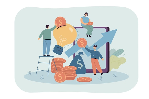 Маленькие люди вкладывают деньги в идею, творческий проект. плоский рисунок