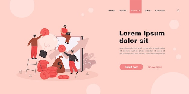 Tiny people making investment into idea, creative project landing page in flat style