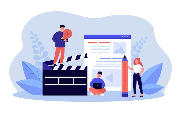 Tiny people making video, photo blog content. man standing on clapperboard, woman with pencil flat vector illustration. blogging in social media concept for banner, website design or landing web page