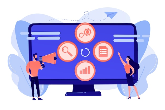 Tiny people managers plan and analyze campaign. marketing campaign management, marketing strategy execution, campaign efficiency control concept illustration