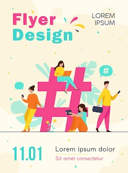Tiny people near hashtag for social media flyer template