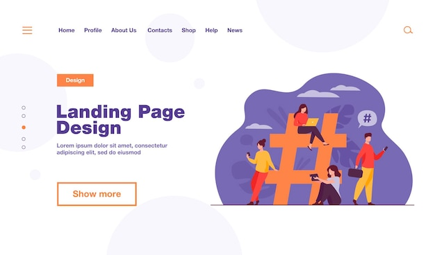 Tiny people near hashtag for social media landing page template