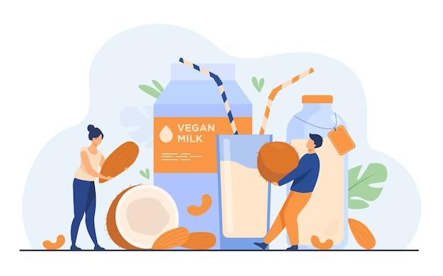 Крошечные люди возле безлактозного молока с плоским векторная иллюстрация. мультяшные веганские напитки из миндаля, овса, риса, сои и семян. концепция здоровья и вкусной сырой пищи