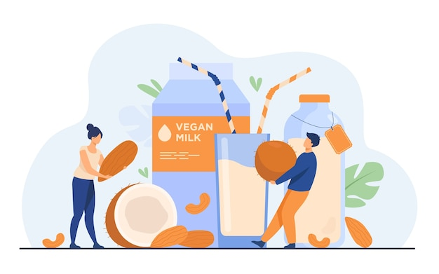 Tiny people near lactose free milk flat vector illustration. cartoon vegan almond, oat, rice, soya and seed beverages. wellness and delicious raw food concept
