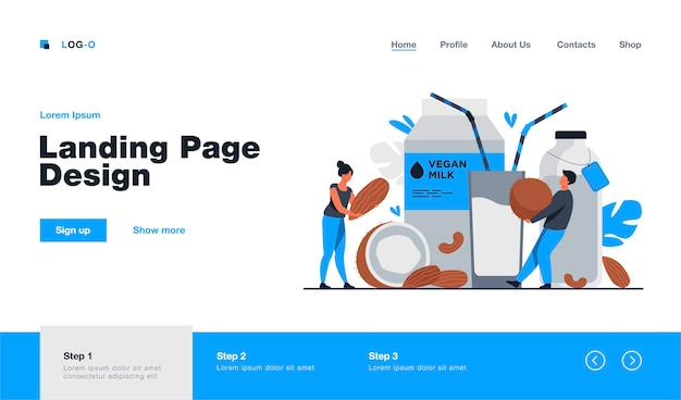 Tiny people near lactose free milk landing page template