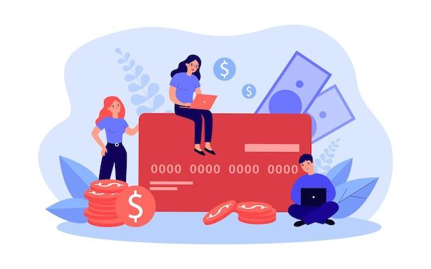 大きなクレジットカードで支払う小さな人々。お金の端末と請求書フラットベクトルイラストにラップトップを使用して現代の男性と女性。バナー、ウェブサイトのデザイン、またはランディングウェブページのオンライン支払いの概念
