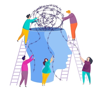 Tiny people people unravel the tangle of problems in a person head.