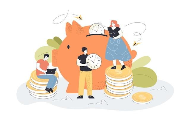 Tiny people putting clocks in piggybank