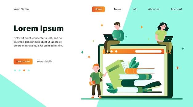 オンラインライブラリで本を読む小さな人々。インターネット、ラップトップ、テクノロジーフラットベクトルイラスト。知識と教育の概念のウェブサイトのデザインまたはランディングwebページ