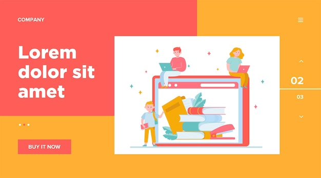 オンライン図書館で本を読んでいる小さな人々。インターネット、ラップトップ、テクノロジー。ウェブサイトのデザインやランディングウェブページの知識と教育の概念
